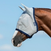 Horseware Amigo Fine Mesh Fly Mask with ears - Silver/Navy, Groesse:Warmblut (L) -